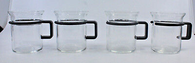 Bodum Bistro Small Coffee Tea Clear Glass Mug Cups Black Handle Set of 4 (E)