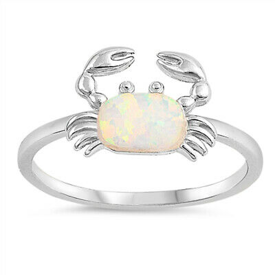 White Lab Opal Oval Animal Crab Claw Ring .925 Sterling Silver Band Sizes 5-10