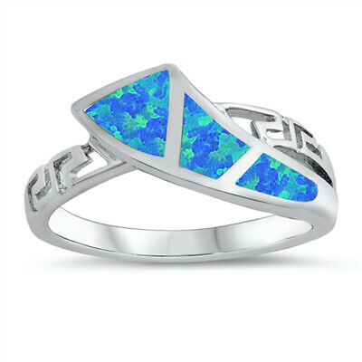 Blue Lab Opal Greek Key Wave Knot Ring New .925 Sterling Silver Band Sizes 5-10