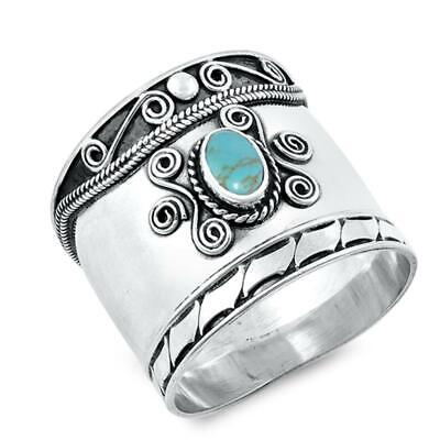 Turquoise Rope Halo Polished Bali Ring New .925 Sterling Silver Band Sizes 5-11