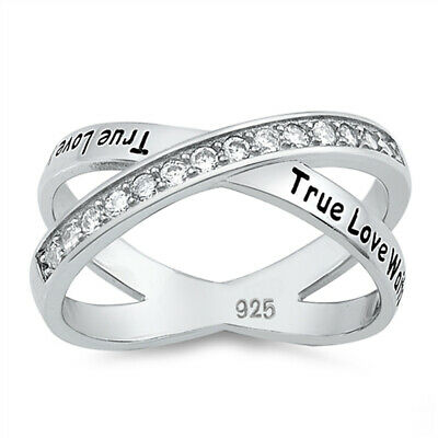 Clear CZ True Love Waits Promise Ring Sterling Silver Crisscross Band Sizes 5-10