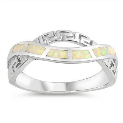 White Lab Opal Greek Key Criss Cross Knot Ring Sterling Silver Band Sizes 5-10