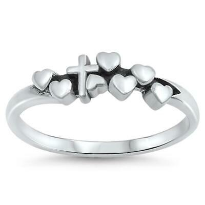 a6091b91db12e CROSS HEART LOVE Jesus Purity Promise Ring .925 Sterling Silver Band Sizes  4-10