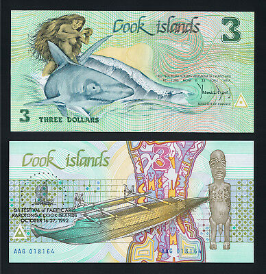 Cook Island 3 Dollars ND ( 1987 ) P 3 UNC