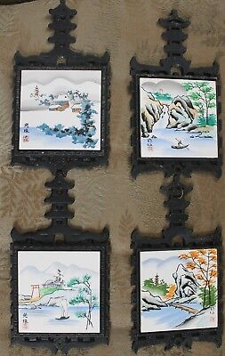 Vintage LOT OF 4 Hand Painted JAPANESE Tile & Metal TRIVETS, Wall Decor, CDGC
