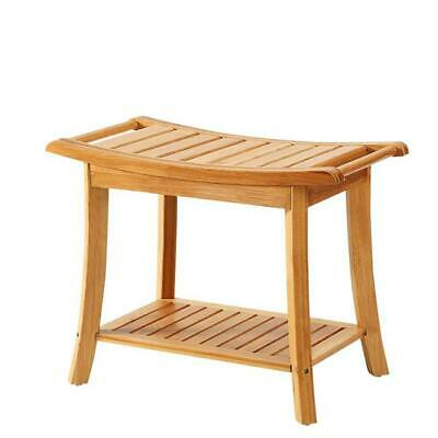New Ridge Home Goods Natural Bamboo Shower Bench Seat Spa Bath Shaving Stool