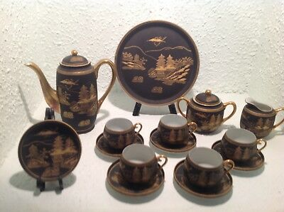 Vintage Kutani 17 Pc Tea Set Hand Painted Black & Gold Porcelain Made in Japan