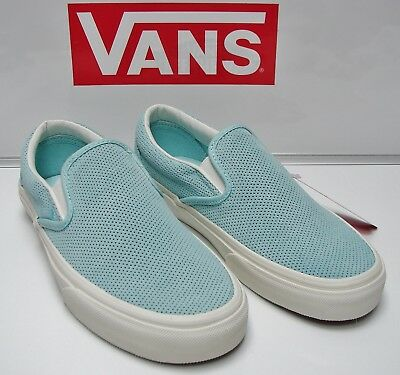 6eaffa3fbc Vans Classic Slip-On (Perforated Suede) BlueLight VN-0004MPJKP Women s Size