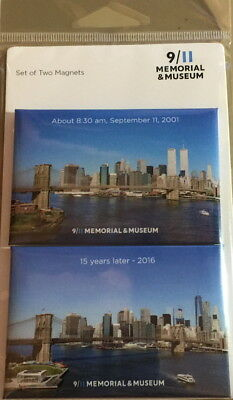 9/11 MEMORIAL SET of 2 MAGNETS WTC TWIN TOWERS Then 2001 & Now 2016 PHOTOS