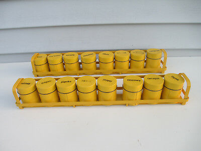 2 Vintage Yellow Tin Metal Toleware Spice Racks Hold 16 Jars 8 Each