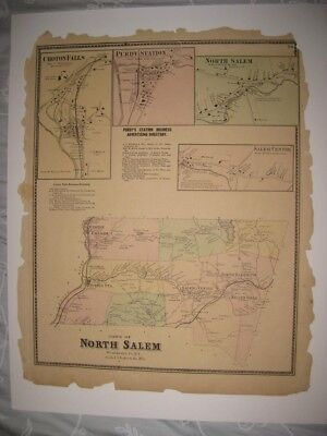 Vintage Antique 1867 North Salem Purdys Westchester County New York Map Rare Nr