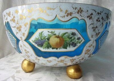 Antique Victorian Cased TEAL Blue Glass Punch Bowl Hand Painted Panels W-Flaws