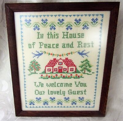 """Vintage Framed Glass """"Welcome Guest"""" Needlepoint Sampler Picture Lovely Gift"""