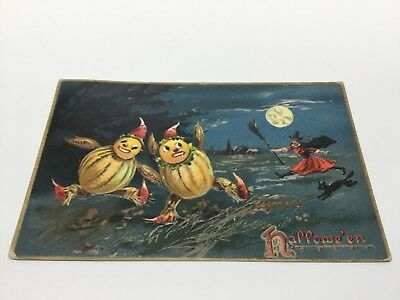 Antique 1909 Tuck's Halloween Witch and Pumpkin Post Card Marshalsea Pa.