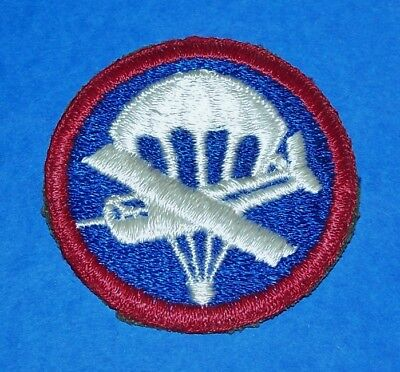 Original Cut-Edge Ww2 Airborne Paratrooper Glider Em Cap Patch, No Landing Skid!