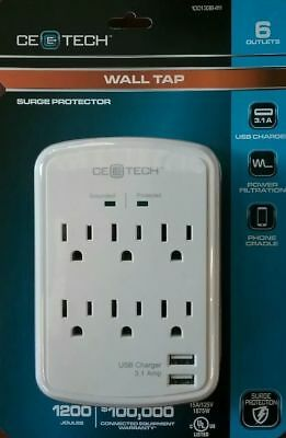 NEW!!  CE TECH 6-Outlet USB Wall Tap Surge Protector, White 1001338411