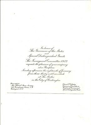 1953 invitation from the Inaugural Committee to reception at the Statler