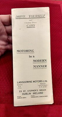 23 St. Stephen's Green - Dublin Ireland  Vtg Lansdowne Motors Ltd Pamphlet - sl