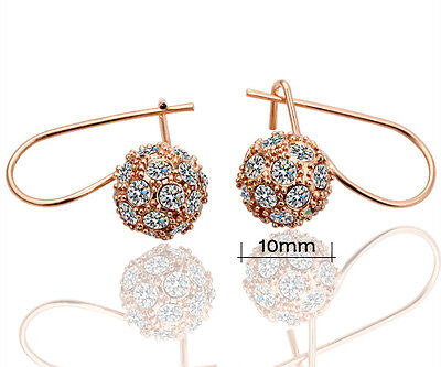 Beautiful 18k Rose Gold-plated Rhinestone Earrings Lover Gift E111