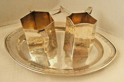 Weidlich Sterling Creamer Sugar & Tray Hand Wrought Sterling Silver