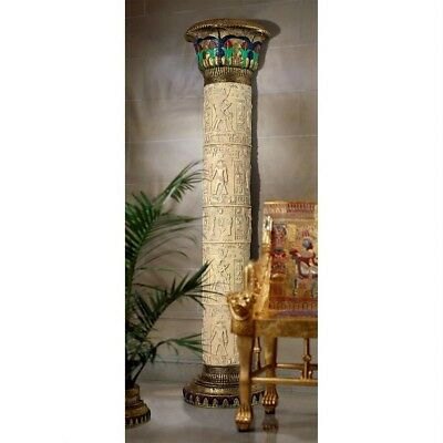 "95"" Egyptian Temple Tomb of Luxor Hieroglyphics Lotus Half Column Wall Sculpture"
