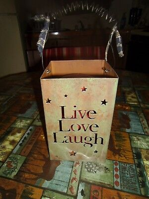 """Metal candle holder Live Love laugh 11"""" tall with handle and pillar candle good"""