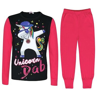 Kids Girls Designer Unicorn Dab Floss Pyjamas Loungewear Nightwear Pink PJS 5-13
