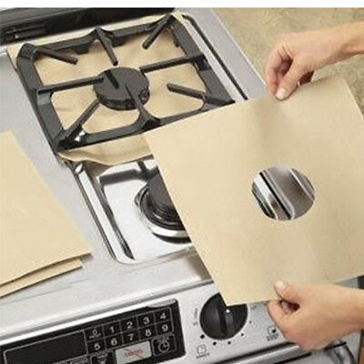 1/2/4x Reusable Gas Stove Top Burner Protector Liner Pad Cover Kitchen Cleaning