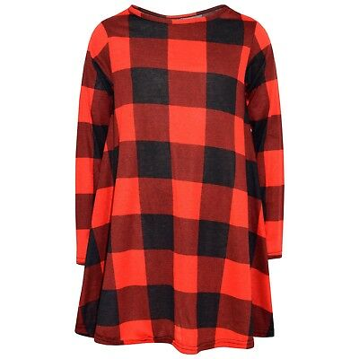 Kids Girls Red Swing Dress Tartan Print Trendy Fashion Top Skater Dresses 7-13Yr