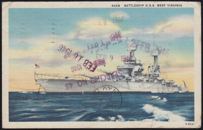 USA Navy WWII 1945 Battleship West Virginia misdirected back flattop USS Hancock