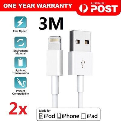2Pcs 3M Long Apple Lightning USB Data Charger Cable for iPhone XS MAX XR 8 7 6s