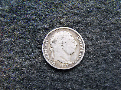 1819 Sixpence George III .925 Silver British Penny 6d Coin