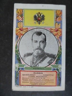 1909 Russia National Flag & Nicholas II Portrait Postcard