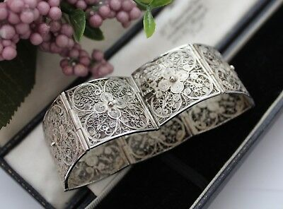 Antique Vintage Continental Silver Filigree Panel Bracelet - Beautiful !