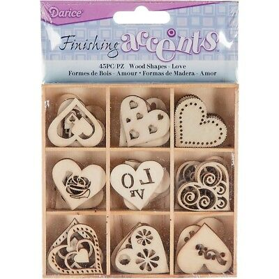 45 LOVE Heart Design Wood Embellishments Paintable for Cards,Scrapbooks & Crafts