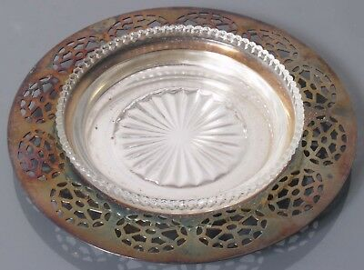 """Wm. A. Rogers 5.5"""" Ashtray Silver And Glass"""