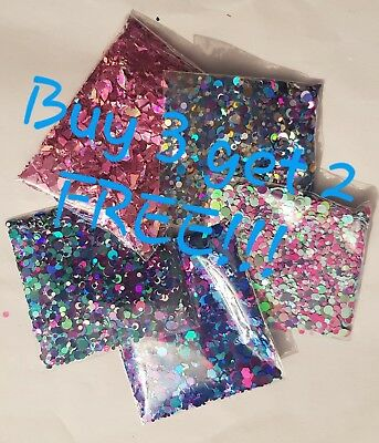 Mermaid Chunky and Fine Glitter Flakes - Eye Shadow Face Body Festival Nail Art