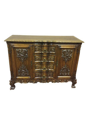 Ornate Antique French Chest, Oak, 1920's, Nice Vanity Size