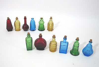 Lot 12 Miniature Wheaton Bitters Colored Glass Bottles Ball Claw Fish Fisch RIP