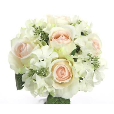 Admired By Nature 9 Stems Artificial Rose& Hydrangea Mixed Bouquet Peach & Cream
