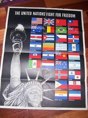 Original 1942 WW2 Poster THE UNITED NATIONS FIGHT FOR FREEDOM Office Of War Info