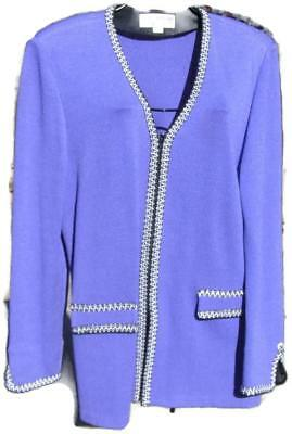 St John by Marie Gray Purple Knit Zip Front Jacket with Black & White Embroidery