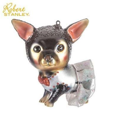 Chihuahua Black & Tan  Dog Shaped Glass Sparkly Ornament w Tutu Robert Stanley