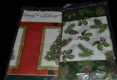 """2 Vtg CHRISTMAS HOLIDAY Paper Table Covers AMSCAN HOLLY PINE CONES TREE 54""""x102"""""""