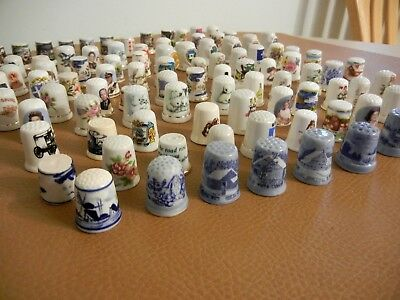 Large Lot  96 Different  Bone China Sewing  Thimbles - Exc++