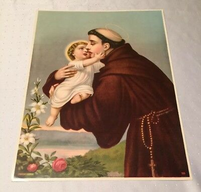 "Vintage St. Anthony of Padua & Christ Child Lithograph Print 20"" x 15"""