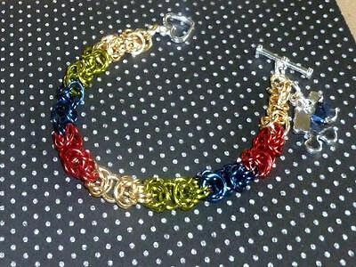 Autism Awareness Bracelet asperger puzzle piece chainmaille hand made jewelry