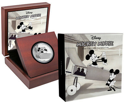 2016 Niue $2 Disney Mickey Mouse Plane Crazy 1 Oz. Colorized Silver Proof