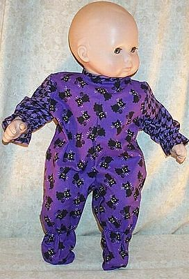 """Doll Clothes Baby Made 2 Fit American Girl 15"""" Bitty Boy Pajamas Cat Purple"""