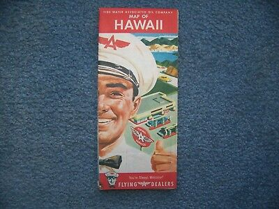 """Early 1950's  Flying A Dealers Tidewater Oil Co  """"HAWAII""""   Road Map"""